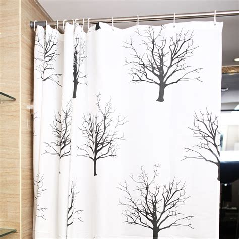 Shower Curtains With Trees Classic White Black Polyester Tree Shower Curtains
