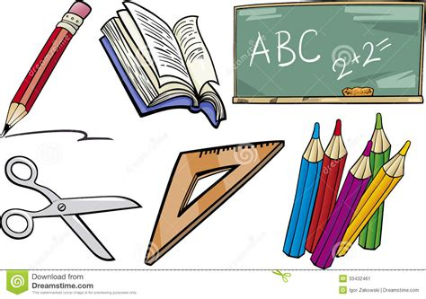 clipart scuola primaria school objects illustration set stock vector