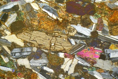 gabbro thin section layered hypersthene gabbro scotland thin section