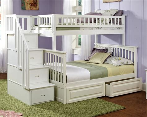 bunk beds with staircase columbia staircase bunk bed white bedroom