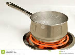 Boiling Pot Pot Of Boiling Water On Burner Stock Photo Image