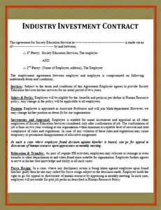 Investment Contract Template by Fema Gov Investment Contract