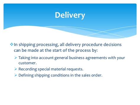 shipping and delivery policy template sap order to cycle