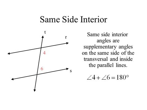 Same Side Interior Angles by Transversal And Parallel Lines Ppt
