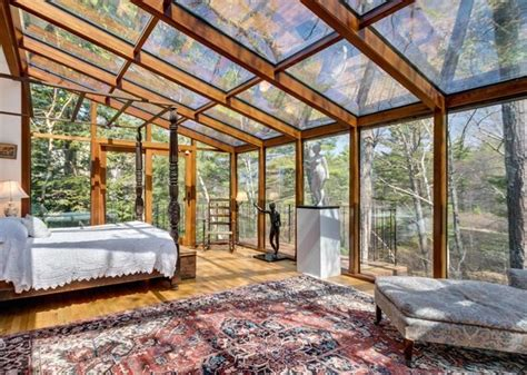 glass ceiling bedroom sherborn home features walls and ceilings of glass the