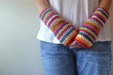 crochet in color colorful stripey fingerless mitts