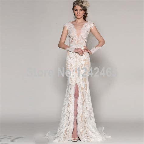 Wedding Dress With Slit by Mermaid V Neck Sleeve Lace Mermaid Wedding Dress