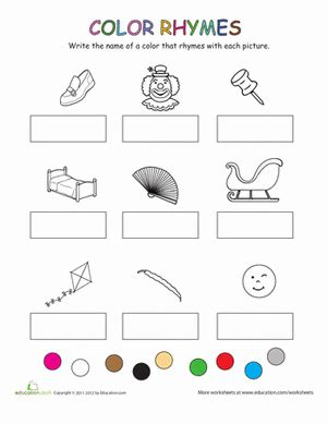 rhymes with color color rhymes worksheet education