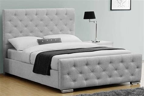 Buckingham grey fabric upholstered buttoned headboard bed double king crazy price beds
