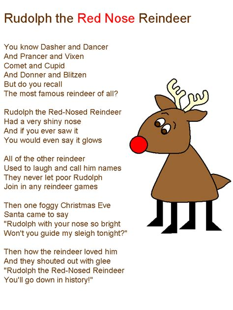 printable lyrics to rudolph the red nosed reindeer rudolf the red nose reindeer lyrics christmas