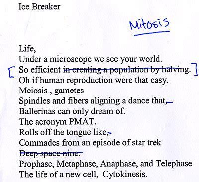 biology poems mitosis found magazine