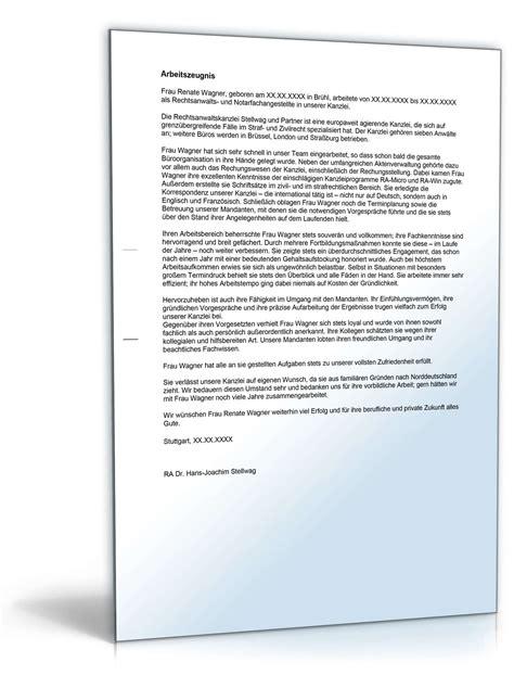 Bewerbungsschreiben Sätze Arbeitszeugnis Rechtsanwaltsfachangestellte Note Eins Vorlage Zum