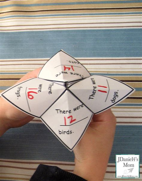 Folding Paper Math Problem - cool math word problem fortune teller