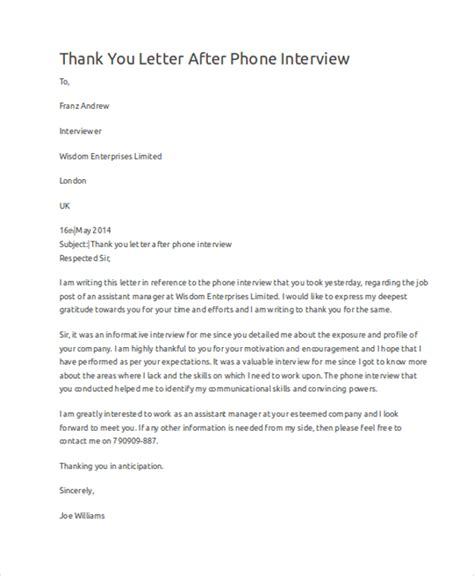 thank you letter after phone sle thank you letter 10 exles in word pdf