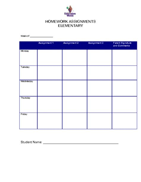 6 free homework templates excel pdf formats
