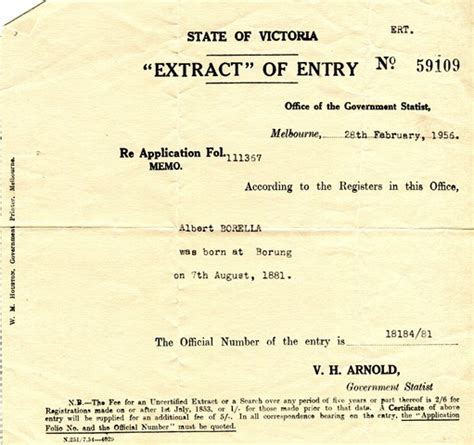 full birth certificate extract early days the borella ride