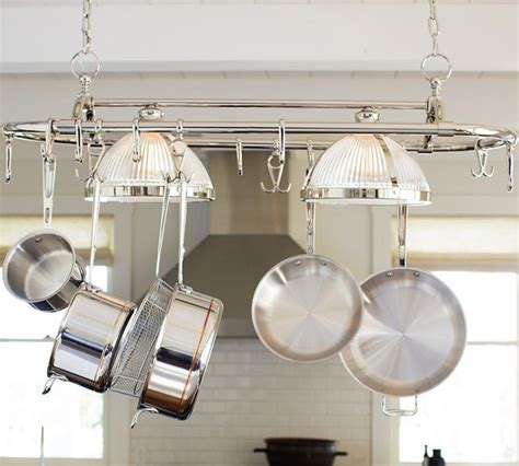 Hanging Pot And Pan Rack With Lights Pottery Barn Sawyer Pot Rack W Pendant Lighting Polished