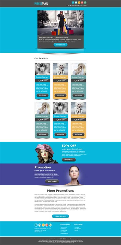 email marketing newsletter templates piscesmail email newsletter template by pophonic