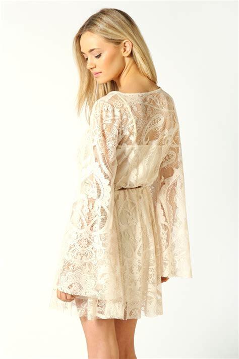 Dress Midi Mini Channel Spandek Simple Santai Casual Kasual boohoo mimi kimono sleeve lace wrap skater dress in
