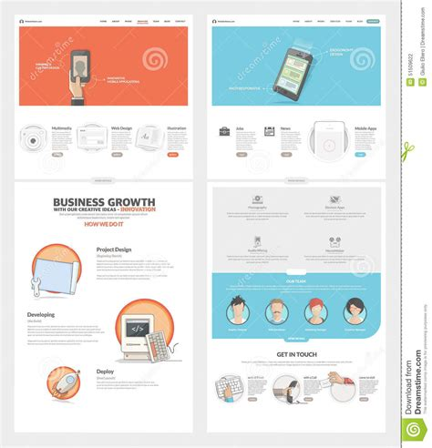 company portfolio template doc two page website design template with concept icons and