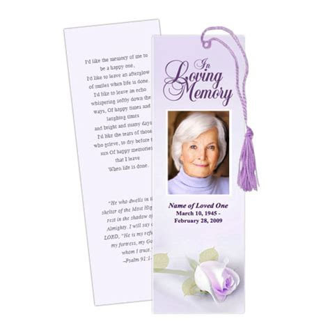 funeral bookmarks template free bookmark template custom bookmark templates