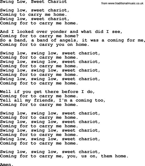 swing low swing chariot lyrics joan baez song swing low sweet chariot lyrics
