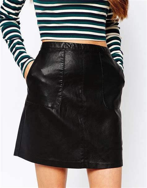 new look faux leather a line skirt