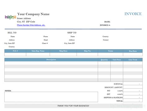 template for printing sales invoice template
