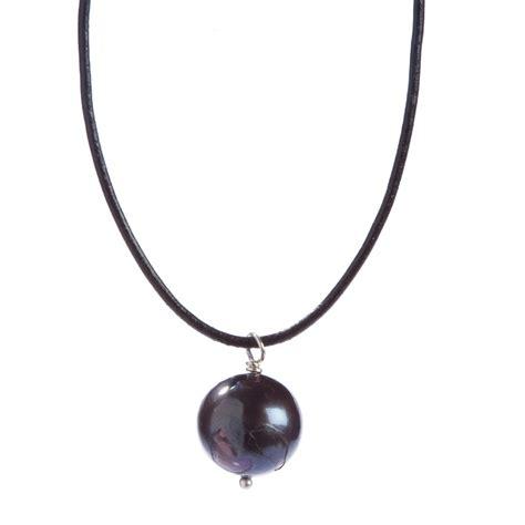 black pearl on leather necklace bija bijoux
