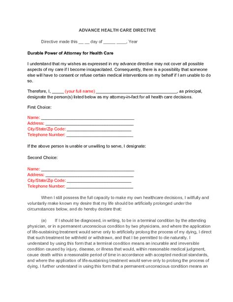 advance care directive template health directive template what makes health directive