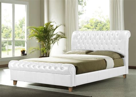 white leather king size bed richmond 5ft king size white faux leather bed frame