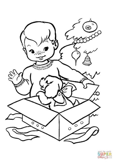 nice christmas gift for a little boy coloring page free