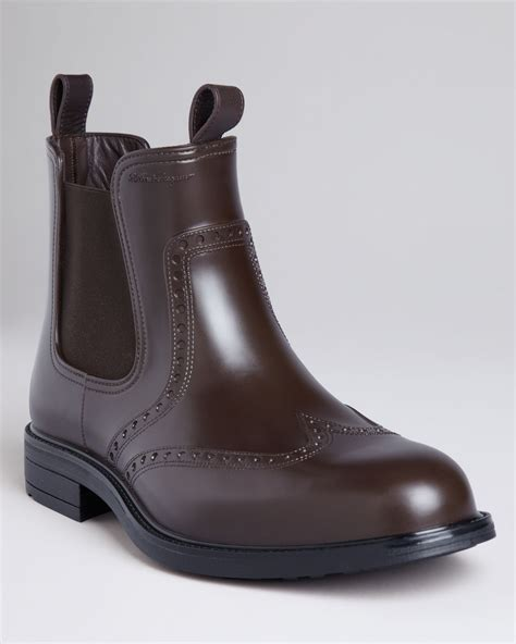 ferragamo boston wingtip boots in brown for hickory