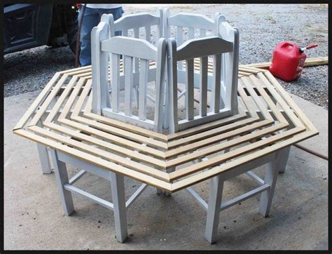 tree bench made from chairs build a bench around a tree using kitchen chairs diy