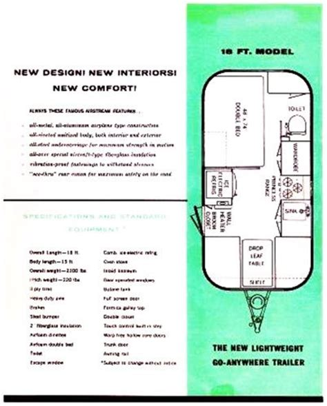 airstream travel trailer floor plans the vintage 18 foot travel trailer floor plans vintage