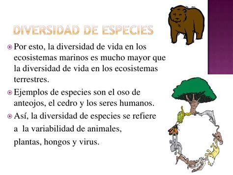 la diversidad de la los tres componentes de la biodiversidad