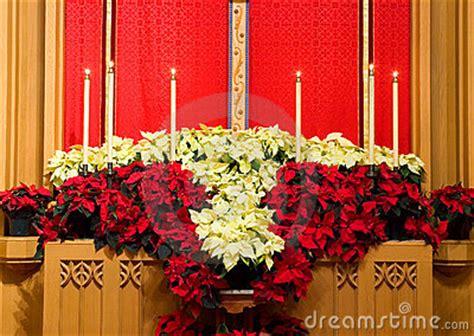 church altar  poinsettias stock images image