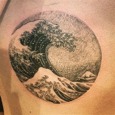 the great wave tattoo dotwork hokusai wave by clyde ck ink