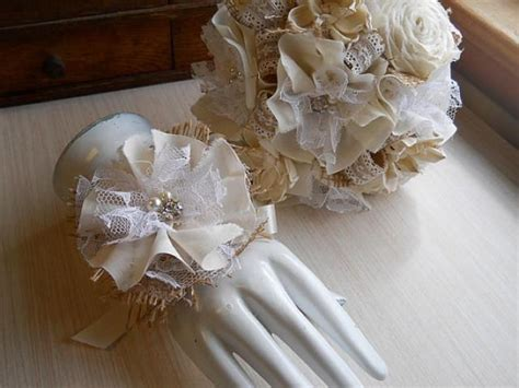shabby chic wedding flowers rustic shabby chic ivory wedding bouquet wrist corage sola flowers fabric roses burlap lace