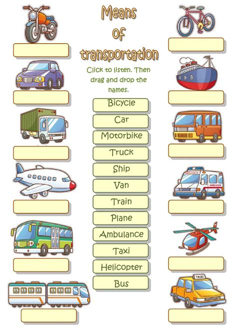means of transportation ficha interactiva