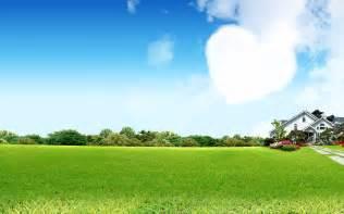 绿色草地蓝天白云壁纸 风景壁纸 桌面壁纸下载