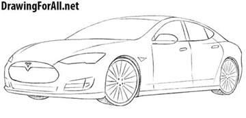 Tesla Drawings How To Draw A Tesla Model S Drawingforall Net