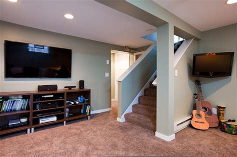 contemporary basement family room remodel contemporary