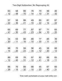 subtraction worksheet two digit subtraction with no
