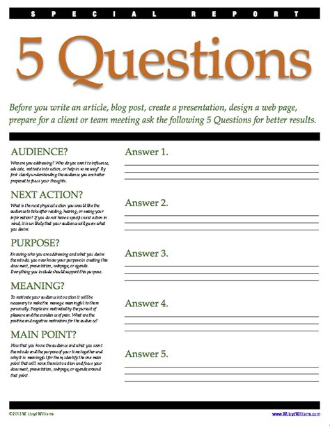 learn how to ask the 5 w s h e questions the 5 questions worksheet w lloyd williams