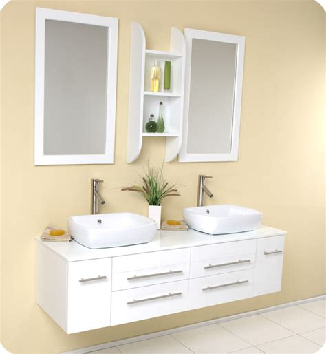Modern Bathroom Vanity White Fresca Bellezza White Modern Vessel Sink Vanity