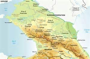caucasus physical map chechnya ingushetia stavropol