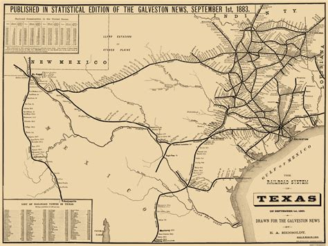 map of texas railroads railroad maps texas railroad system tx by e a hensoldt 1883