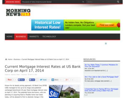 us bank current mortgage interest rates at us bank corp