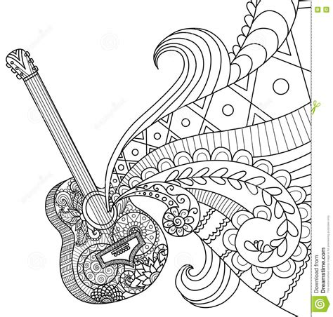 guitar coloring pages for adults doodles design of guitar for coloring book for adult stock